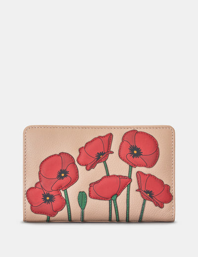 Poppy Flower Frappe Leather Oxford Purse - Yoshi
