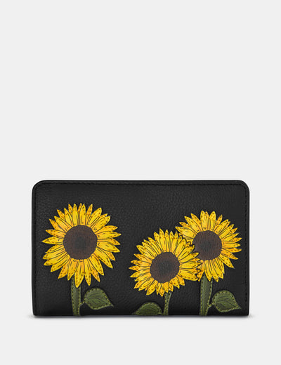 Sunflowers Black Leather Oxford Purse - Yoshi