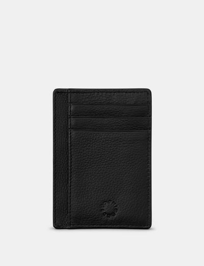 Black Leather Card Holder With ID Window - Yoshi
