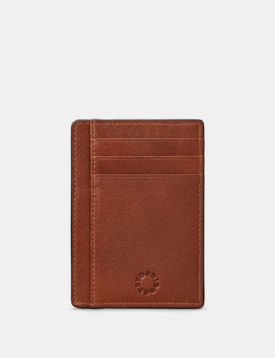 Brown Leather Card Holder With ID Window - Yoshi