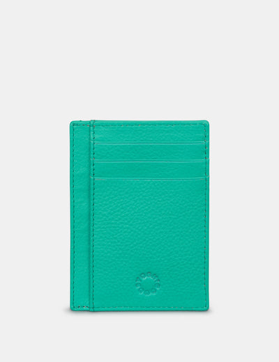 Jade Green Leather Card Holder With ID Window - Yoshi