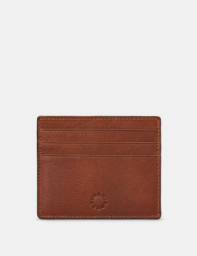 Slim Brown Leather Card Holder - Yoshi