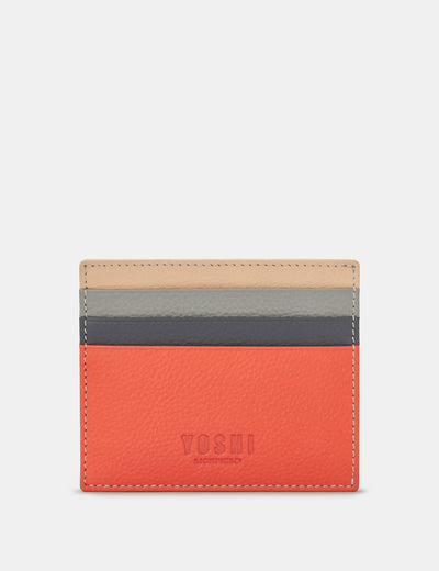 Coral Multi Leather Wooster Card Holder - Yoshi