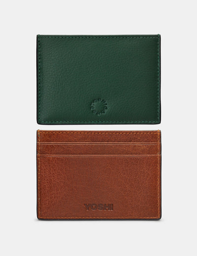 Racing Green And Brown Leather Academy Card Holder - Yoshi