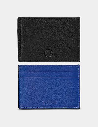 Black And Blue Leather Academy Card Holder - Yoshi