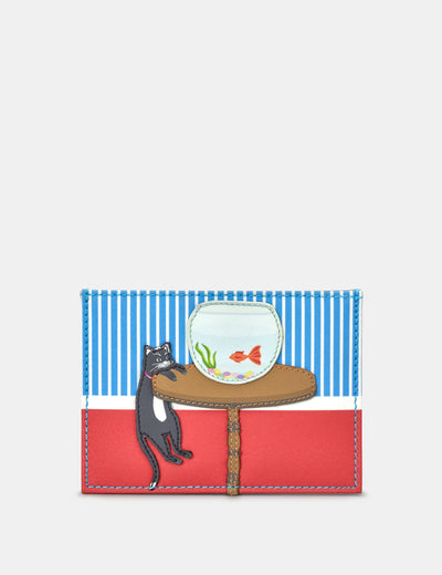 Leather Cat And Fish Academy Card Holder - Yoshi