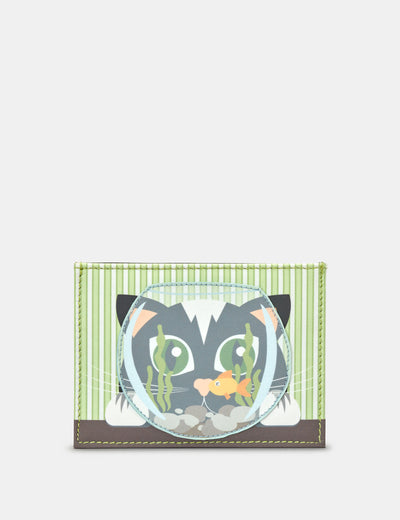 Cat And Fish Bowl Leather Academy Card Holder - Yoshi