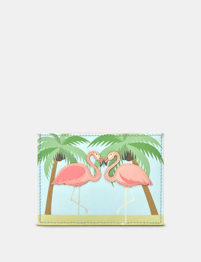 Leather Flock Of Flamingos Academy Card Holder - Yoshi