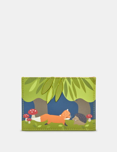 Leather Hedgehog And Fox Academy Card Holder - Yoshi