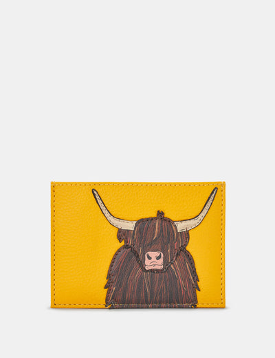 Highland Cow Yellow Leather Academy Card Holder - Yoshi