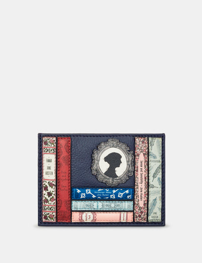 Jane Austen Bookworm Navy Leather Academy Card Holder - Yoshi