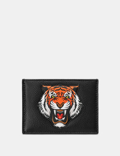 Tiger Black Leather Academy Card Holder - Yoshi