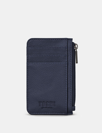Navy Leather Morton Card Holder - Yoshi