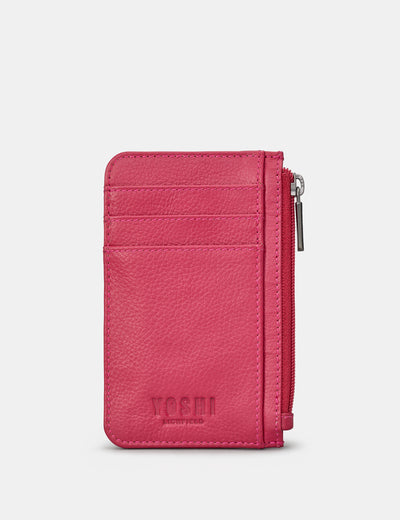 Raspberry Leather Morton Card Holder - Yoshi