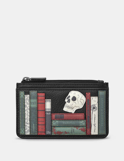 Shakespeare Bookworm Black Leather Morton Card Holder - Yoshi