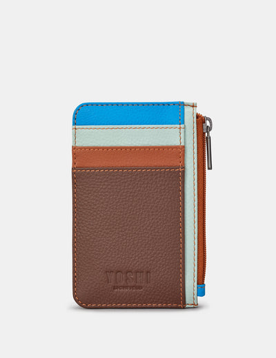 Brown Multi Leather Morton Card Holder - Yoshi