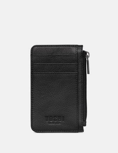 Black Leather Morton Card Holder - Yoshi