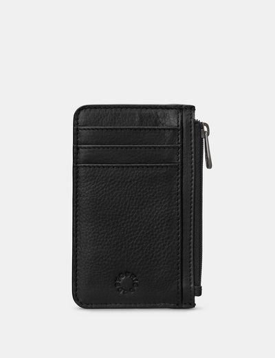 Zip Top Black Leather Card Holder - Yoshi