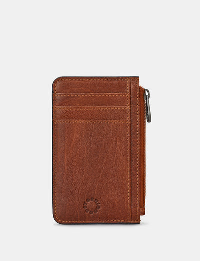 Zip Top Brown Leather Card Holder - Yoshi