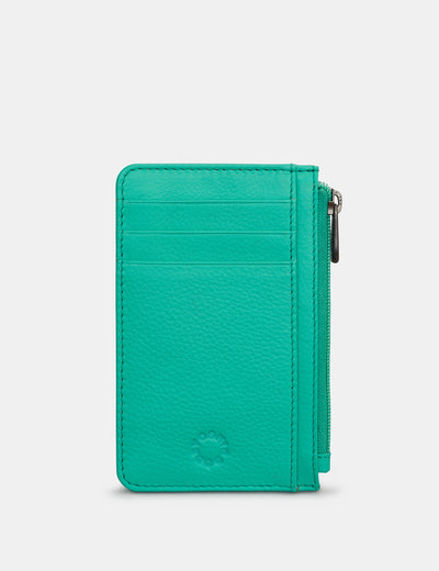 Zip Top Jade Green Leather Card Holder - Yoshi