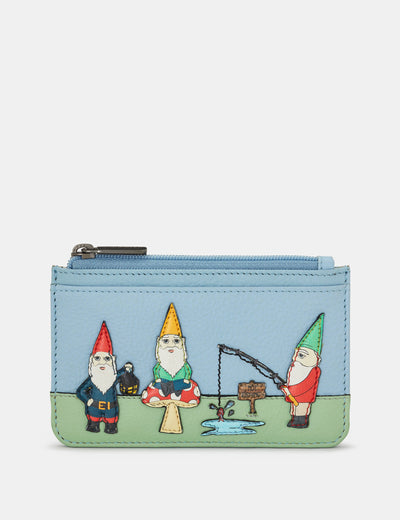 Gnome Sweet Gnome Blue Leather Morton Card Holder - Yoshi