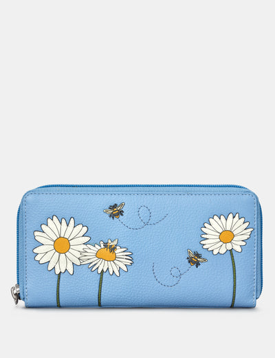 Bee Happy Blue Leather Baxter Purse - Yoshi