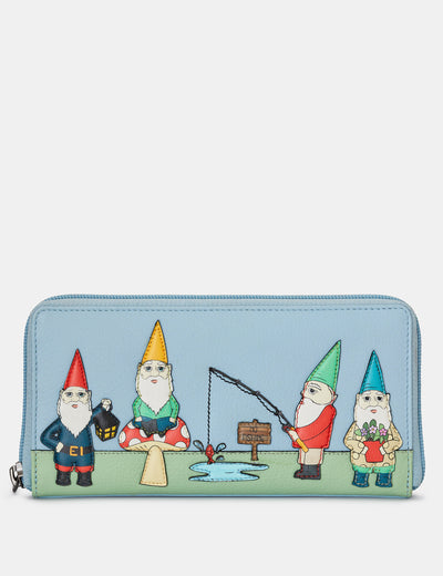 Gnome Sweet Gnome Blue Leather Baxter Purse - Yoshi