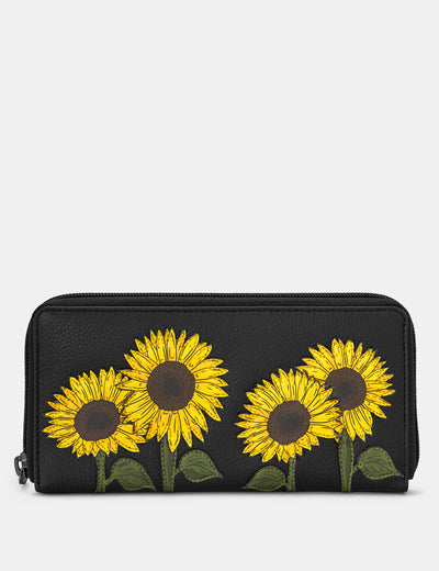 Sunflowers Black Leather Baxter Purse - Yoshi
