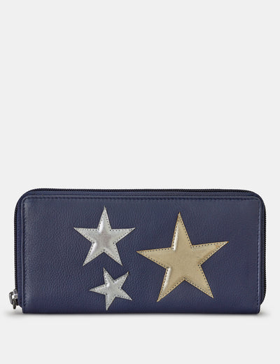 Stars Navy Leather Baxter Purse - Yoshi
