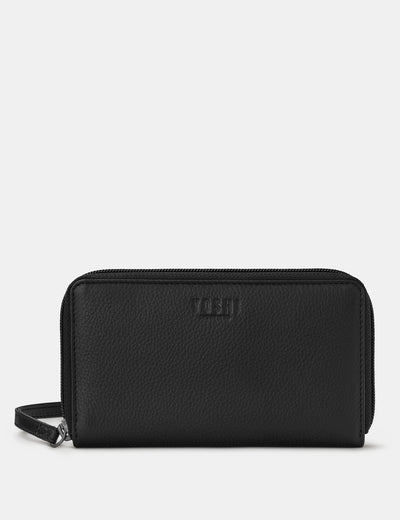 Black Leather Sawyer Purse With Wrist Strap - Yoshi