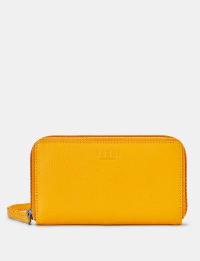 Yellow Leather Sawyer Purse With Wrist Strap - Yoshi