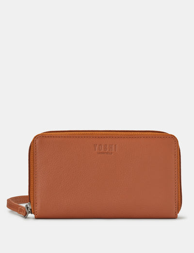 Tan Leather Sawyer Purse With Wrist Strap - Yoshi