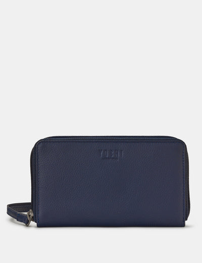 Navy Leather Sawyer Purse With Wrist Strap - Yoshi