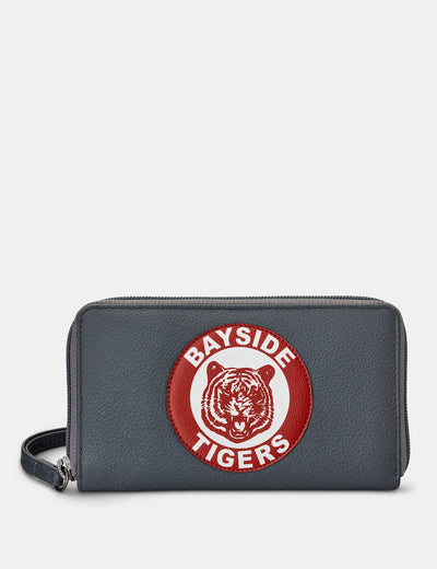 Bayside Tigers Grey Leather Zip Around Purse With Wrist Strap - Yoshi