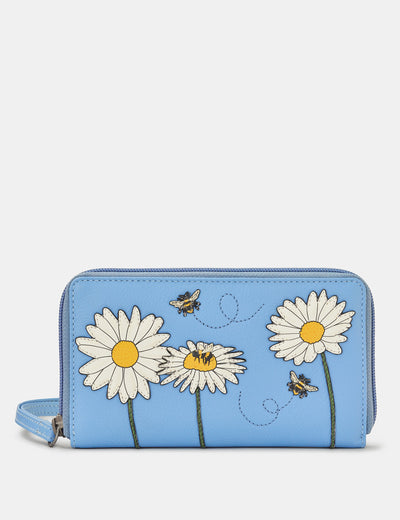 Bee Happy Zip Around Blue Leather Purse With Wrist Strap - Yoshi