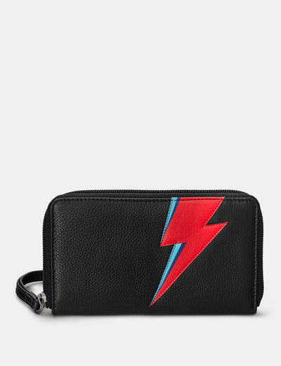 Lightning Bolt Black Leather Zip Around Purse With Wrist Strap - Yoshi