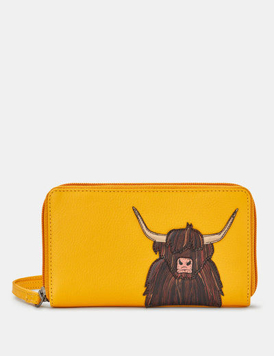 Highland Cow Yellow Leather Zip Around Purse With Wrist Strap - Yoshi