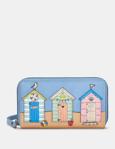 Happy Daze Blue Leather Zip Around Purse With Wrist Strap - Yoshi