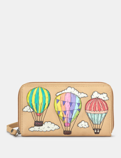 Amongst The Clouds Leather Zip Around Purse With Wrist Strap - Yoshi