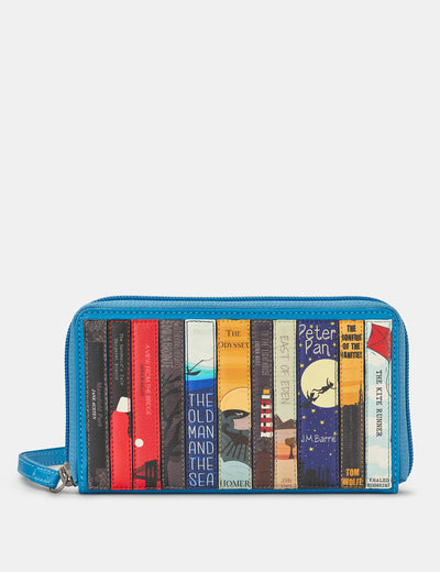 Bookworm Zip Around Cobalt Blue Leather Purse With Wrist Strap - Yoshi