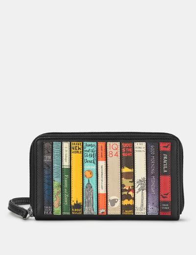Bookworm Zip Around Black Leather Purse With Wrist Strap - Yoshi