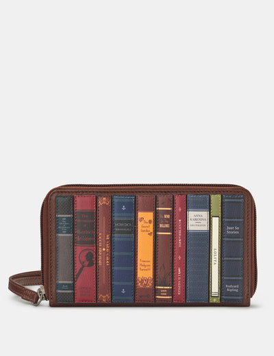 Bookworm Zip Around Brown Leather Purse With Wrist Strap - Yoshi