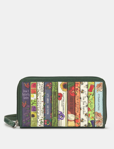 Green Fingers Bookworm Zip Around Green Leather Purse With Wrist Strap - Yoshi