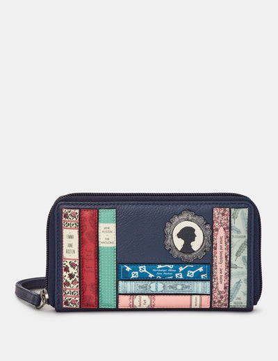 Jane Austen Bookworm Zip Around Navy Leather Purse With Wrist Strap - Yoshi