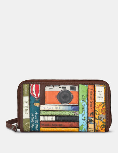 Travel Bookworm Zip Around Brown Leather Purse With Wrist Strap - Yoshi