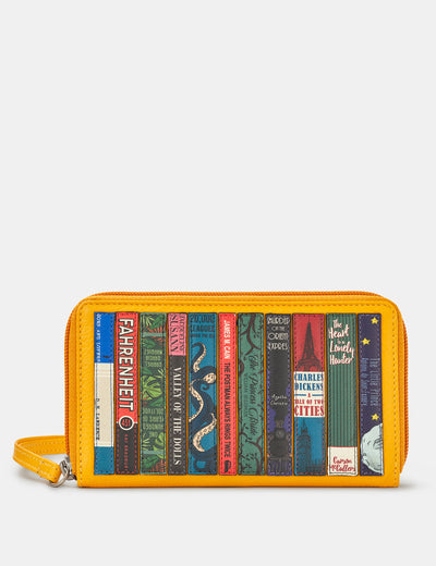 Bookworm Zip Around Yellow Leather Purse With Wrist Strap - Yoshi