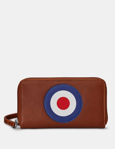 Mod Target Brown Leather Zip Around Purse With Wrist Strap - Yoshi