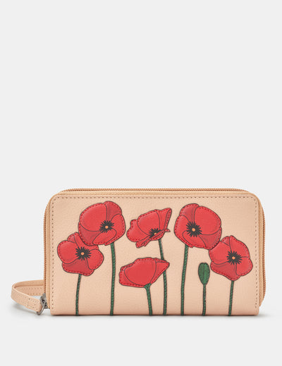 Poppy Flower Zip Around Frappe Leather Purse With Wrist Strap - Yoshi