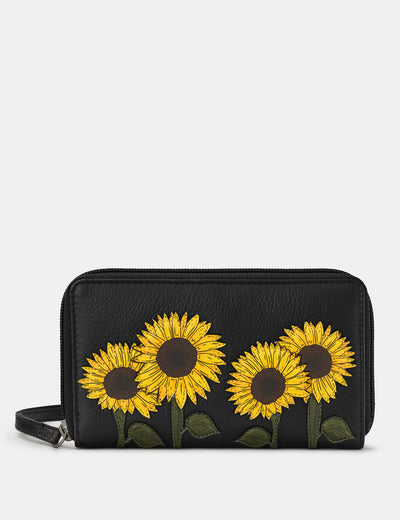 Sunflowers Black Leather Zip Around Purse With Wrist Strap - Yoshi