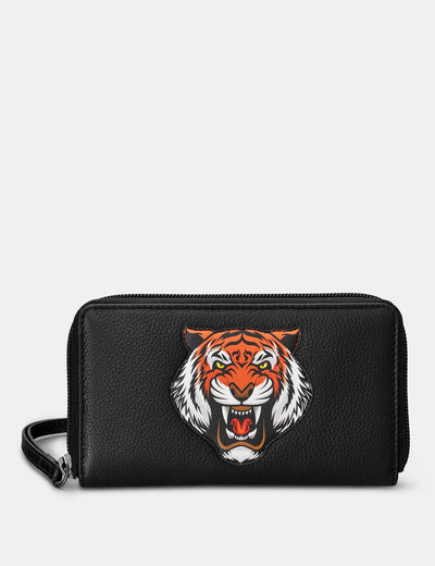 Tiger Black Leather Zip Around Purse With Wrist Strap - Yoshi